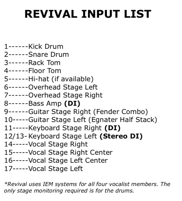 wedding dj in kenosha, revival productions, revival input list